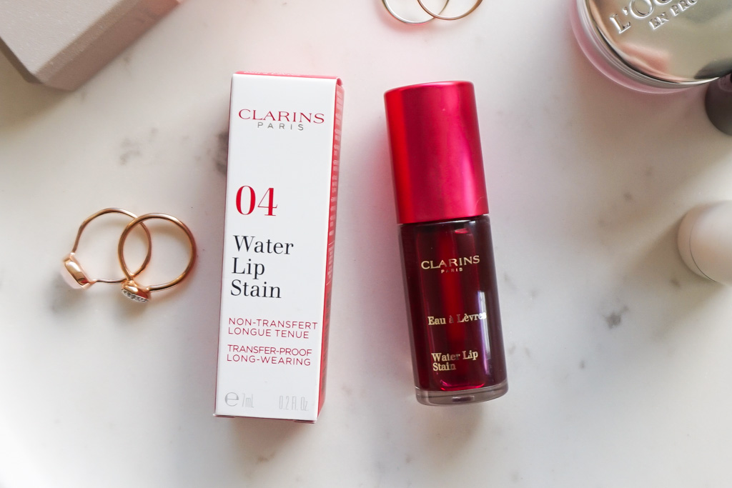 Clarins Water Lip Stain Violet Water swatches review recenzia